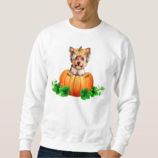 Halloween för Yorkshire Terrier jack o lantern Långärmad Tröja