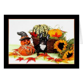 Halloween fransk bulldoggnotecard OBS kort