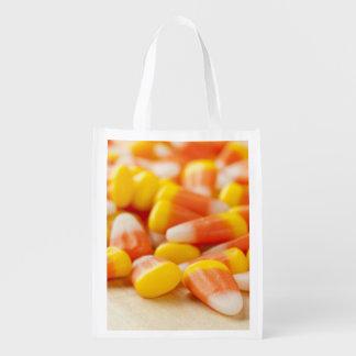 Halloween görade randig candy corn återanvändbar påse