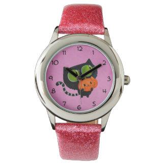 Halloween gullig katt med pumpa armbandsur