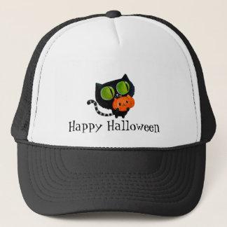Halloween gullig katt med pumpa keps