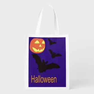 Halloween hänger lös med fladdermöss och en jackO Återanvändbar Påse