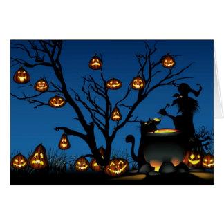 Halloween häxa och pumpor hälsningskort