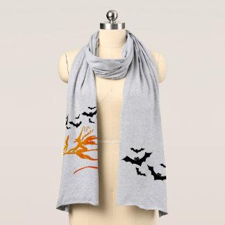 Halloween häxa på kvastkatt med fladdermössscarfen halsduk