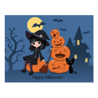 Halloween häxa, svart katt och pumpor vykort