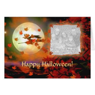 Halloween häxaflyg (fotomallen) hälsningskort