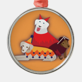 Halloween hundar rund silverfärgad julgransprydnad