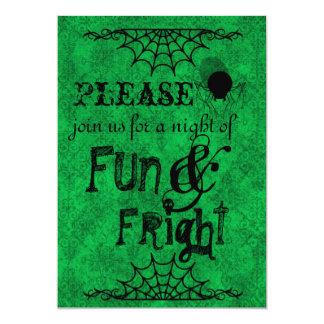 Halloween inbjudan i ljust - grönt 12,7 x 17,8 cm inbjudningskort