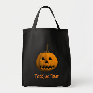 Halloween: Jack o lantern: Bus eller godis hänger  Tygkasse