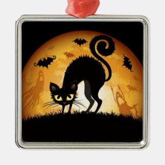 Halloween katt silverfärgad fyrkantigt julgransprydnad