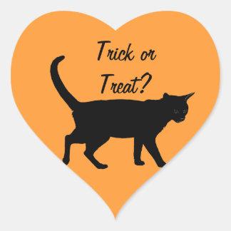 Halloween katter! hjärtformat klistermärke