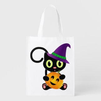 Halloween kattunge återanvändbar påse