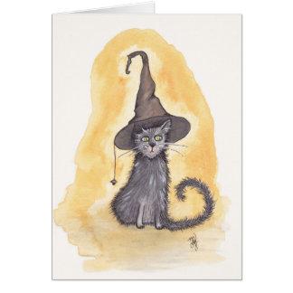 Halloween kattungehäxa hälsningskort
