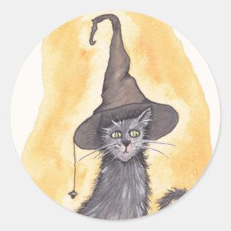 Halloween kattungehäxa runt klistermärke