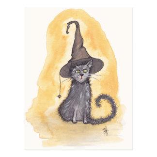 Halloween kattungehäxa vykort