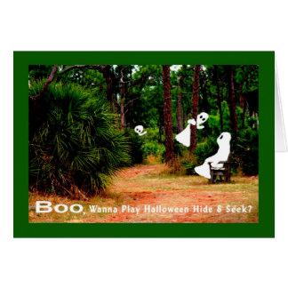Halloween kort, kurragömma med spöken hälsningskort