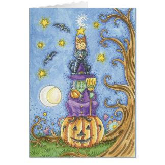 Halloween kort med totemhäxa-, katt- och ugglasitt