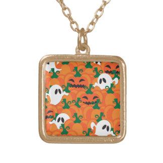 Halloween lappar spöken spökad pumpa guldpläterat halsband