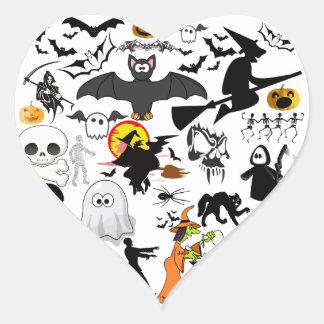 Halloween Mashup Hjärtformat Klistermärke
