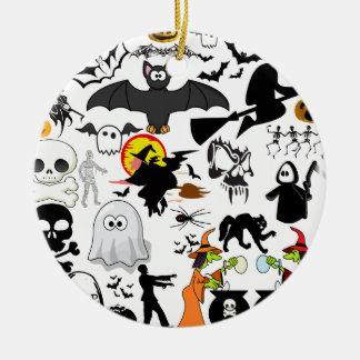 Halloween Mashup Rund Julgransprydnad I Keramik