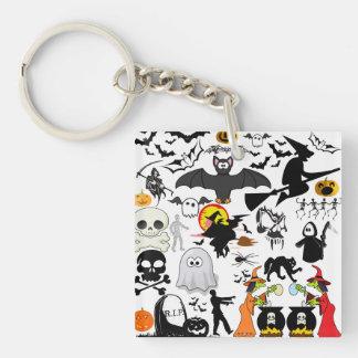 Halloween Mashup Fyrkantigt Dubbelsidigt Nyckelring I Akryl