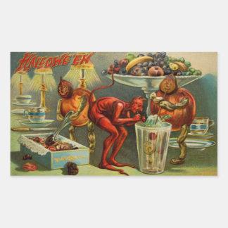 Halloween middag rektangulärt klistermärke
