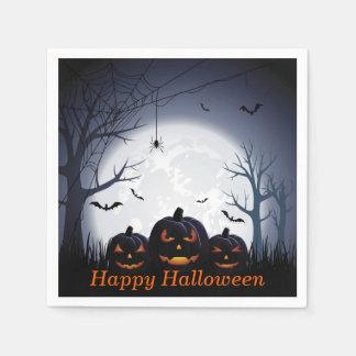 Halloween natt med pumpa- & flygfladdermöss pappersservetter