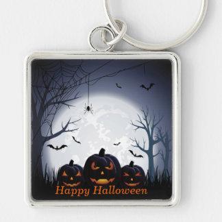 Halloween natt med pumpa-, spindel- & fyrkantig silverfärgad nyckelring