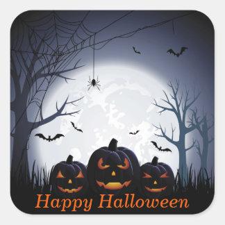 Halloween natt med pumpaspindel- & flygfladdermöss fyrkantigt klistermärke