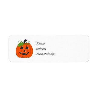 Halloween pumpa returadress etikett