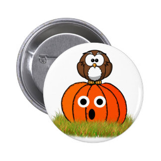 Halloween pumpa & skrämmd uggla standard knapp rund 5.7 cm