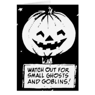 Halloween pumpa, spöke och elakt troll hälsningskort