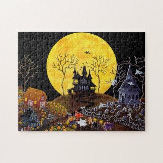 Halloween pussel, spökad town pussel