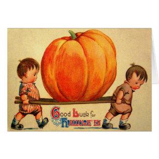 Halloween Retro vintagevärlds största pumpa Hälsningskort