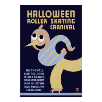 Halloween rulle som åker skridskor karneval poster