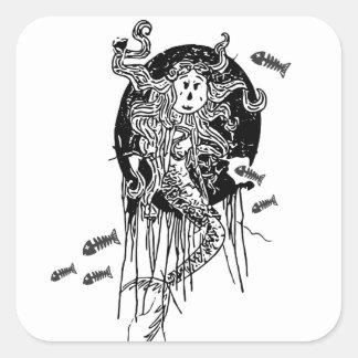 Halloween sjöjungfru fyrkantigt klistermärke