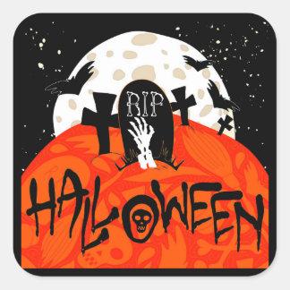 Halloween slår till den spöklika kyrkogården fyrkantigt klistermärke