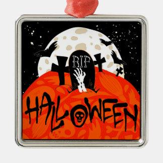 Halloween slår till den spöklika kyrkogården silverfärgad fyrkantigt julgransprydnad