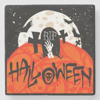 Halloween slår till den spöklika kyrkogården underlägg sten