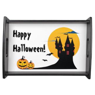 Halloween - slott, fullmåne, fladdermöss och serveringsbricka