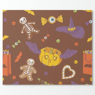 Halloween som slår in papper med pumpor presentpapper