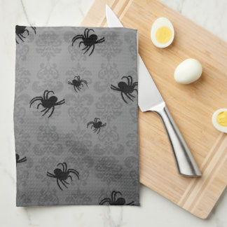 Halloween spindlar på urblekt damastast dekor för  kökshandduk