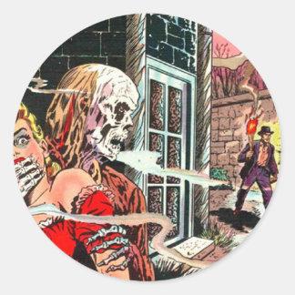 Halloween spökade humorboken runt klistermärke