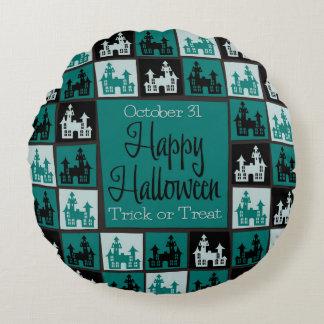 Halloween spökade husmosaiken rund kudde