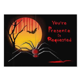 Halloween spöklik partyinbjudan - spindel/måne 12,7 x 17,8 cm inbjudningskort