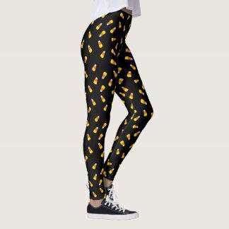 Hallowe'en svart bakgrundscandy corn leggings
