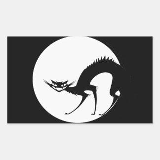 Halloween svart katt i månsken rektangulärt klistermärke