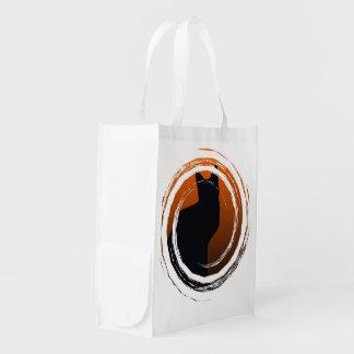 Halloween svart katt i spiral design återanvändbar påse