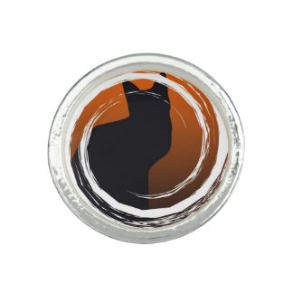 Halloween svart katt i spiral design ringar