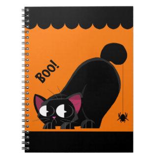 Halloween svart katt och spindel anteckningsbok med spiral